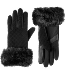 women's lined quilted velvet touch screen gloves
