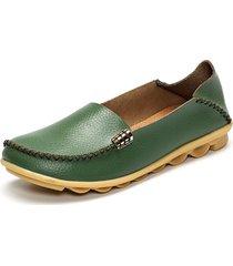 loafers comodi in pelle morbida da slip on in colore a tinta unita con grande taglia