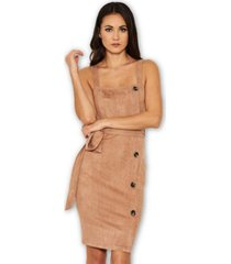 ax paris suede button front belted dress