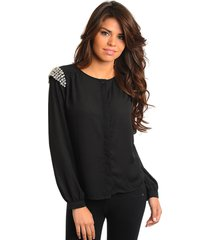 sexy juniors long sleeve black chiffon party club top embellished w/stones