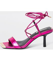 river island womens pink square tie up mid heel sandal