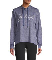 c & c california women's cara burnwash hoodie - blue - size m