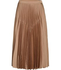 slfharmony mw midi pleated skirt b knälång kjol brun selected femme