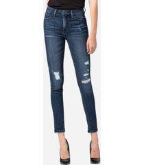 vervet mid rise distressed skinny ankle jeans