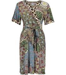 geisha dress sand & multi collor printed
