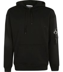 moschino patched pocket ribbed hoodie