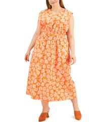 alfani plus size printed smocked-waist midi dress, created for macy's