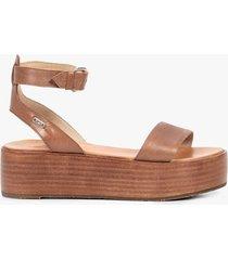 sandalias plataforma cuero para mujer