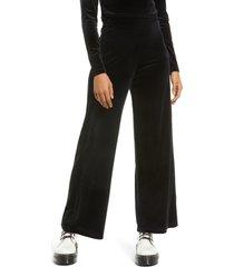 women's topshop wide leg velour pants, size medium - black