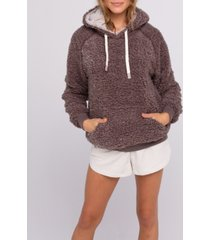 thread supply faux shearling pullover hoody