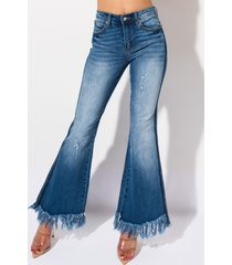 akira make a bet mid rise fringed flare jeans