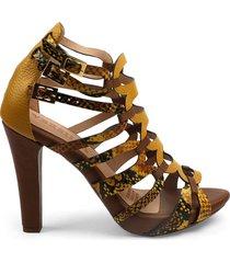 sandalia alta amarilla animal print en cuero versilia bimba