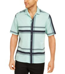 alfani men's classic-fit stretch seersucker plaid shirt, created for macy's