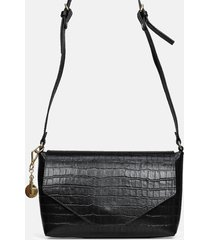 bolsa carteira dasllus em couro preta