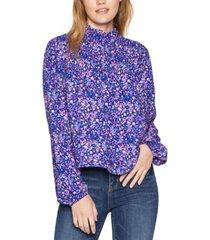 bcbgeneration floral mock neck blouse