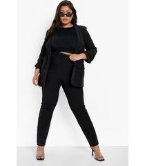plus pak met top met geplooide mouwen en getailleerde broek, black