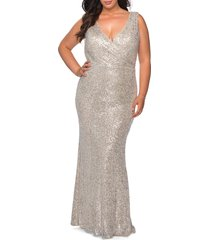 plus size women's la femme sequin v-neck trumpet gown, size 20w - metallic