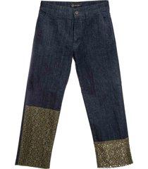 denim stretch florealace boyfriend jeans for woman