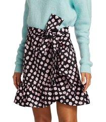 tanya taylor women's daphne polka dot flounce mini skirt - painterly dot black multi - size 4