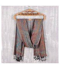 reversible modal jacquard shawl, 'paisley delight' (india)