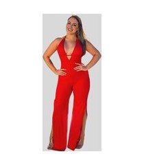 macacão canelado premium fec fashion tecido canelado vermelho