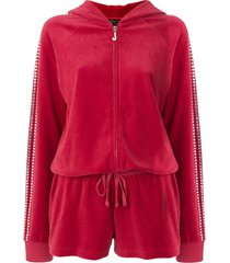 juicy couture exclusive swarovski embellished velour romper - red