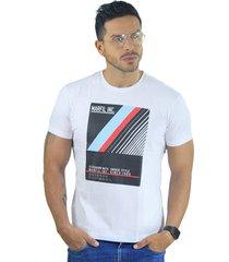 camiseta hombre manga corta slim fit blanco marfil unique