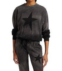 chrldr women's star stencil cropped sweatshirt - vintage black - size xs