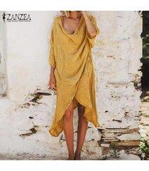 zanzea verano de las mujeres del club del partido llano algodón vestido de tirantes playa más el tamaño de vestido de las señoras de -amarillo