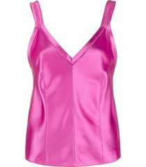 alberta ferretti v-neck silk vest - pink