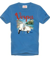 bluette vespa print man t-shirt with fade look