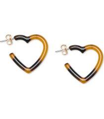 lucky brand gold-tone tortoise-look heart hoop earrings