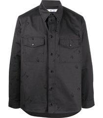 off-white logo-print cotton shirt - black