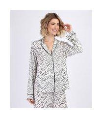 camisa de pijama feminina estampada de poá com vivo contrastante manga longa off white