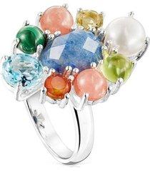 anillo fragile nature rosetón de plata y gemas plateado tous