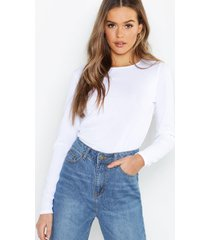 rib long sleeve basic crew neck top, white