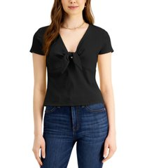 bar iii ribbed tie-front top, created for macy's