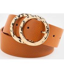 women's pam hammered buckle belt in cognac by francesca's - size: m
