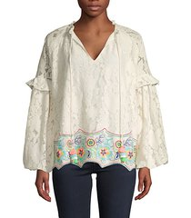 lace wide raglan-sleeve cotton top