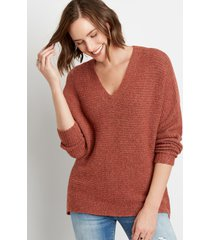 maurices womens solid cozy v neck pullover sweater orange