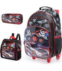 kit escolar infantil mochila de rodinha + lancheira + estojo spector carro
