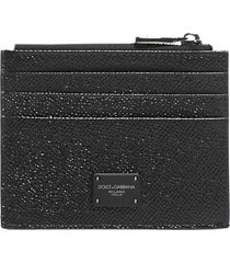 dolce & gabbana logo-plaque zip leather card holder