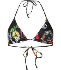 versus patchwork print bikini top - black