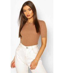 rib knit crew neck short sleeve knitted top, camel