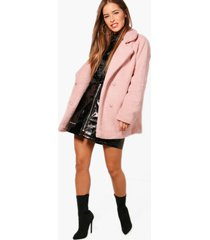 petite double breasted teddy coat, antique rose