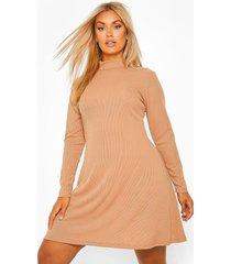 plus geribbelde swing jurk met hoge kraag, camel