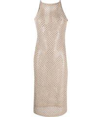 patrizia pepe open knit midi dress - neutrals