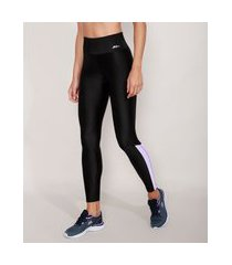 calça legging esportiva ace com recorte lateral preta
