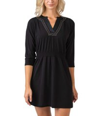 black label women's plus size metallic studded front dress