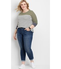 maurices plus size jeans womens denimflex™ dark wash button fly boyfriend jeans blue